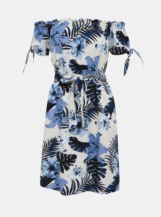 Modro-biele ľanové kvetované šaty s odhalenými ramenami VERO MODA Efie