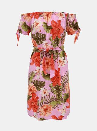 Rúžové ľanové kvetované šaty s odhalenými ramenami VERO MODA Efie