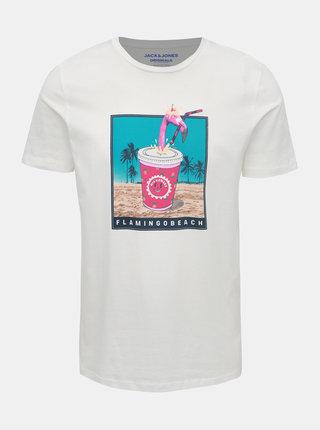 Bílé tričko s potiskem Jack & Jones Funny Mal