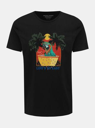 Černé tričko s potiskem Jack & Jones Funny Mal