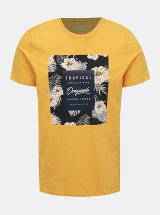 Žluté tričko s potiskem Jack & Jones Tropicana