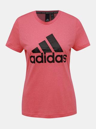 Rúžové dámske tričko s potlačou adidas Performance