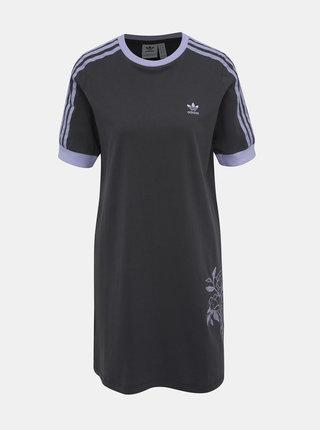 Šedé šaty s výšivkou adidas Originals