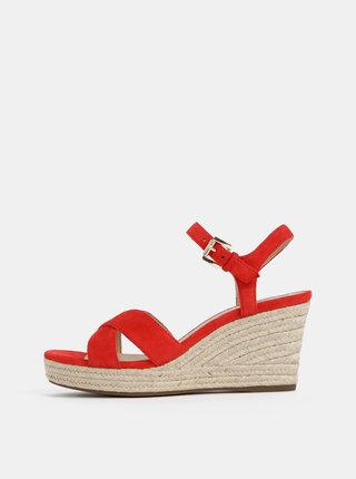 Sandale rosie de dama din piele intoarsa Geox Soleil