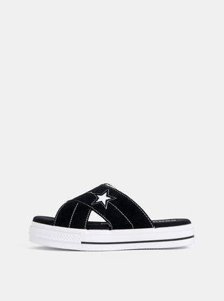 Černé dámské semišové pantofle na platformě Converse