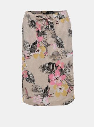 Béžová květovaná lněná sukně M&Co