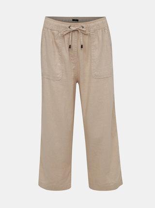 Béžové lněné zkrácené kalhoty M&Co