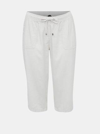 Bílé dámské lněné 3/4 kalhoty M&Co Plus