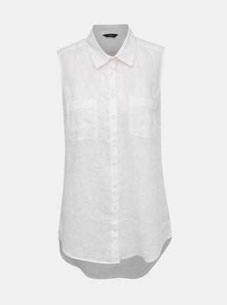 Biela dámska ľanová košiľa bez rukávov M&Co