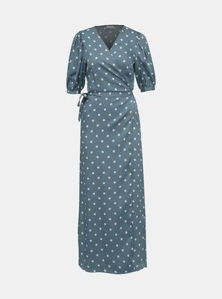 Modré bodkované zavinovacie šaty VILA Doletta