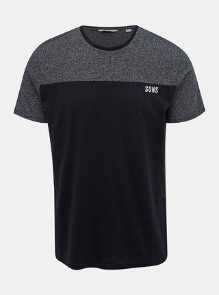 Tmavomodré žíhané tričko ONLY & SONS Poam