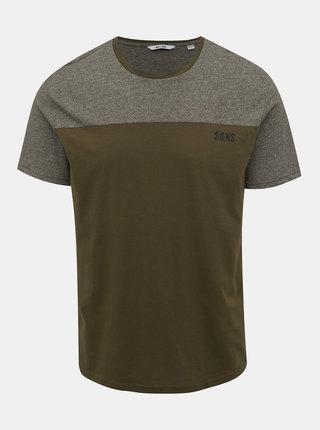 Kaki žíhané tričko ONLY & SONS Poam