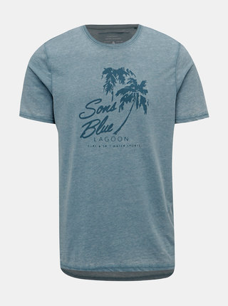 Svetlomodré tričko s potlačou ONLY & SONS Next Burnout