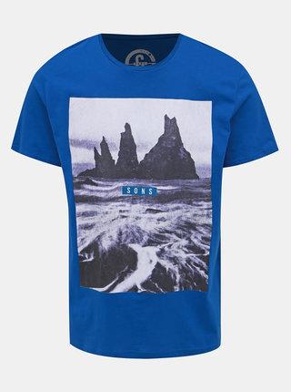 Modré tričko s potlačou ONLY & SONS Pompey