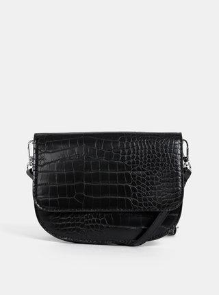 Čierna crossbody kabelka s hadím vzorom Pieces Ebba