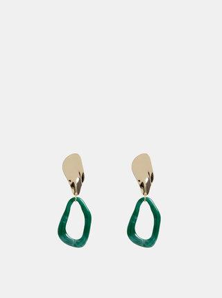 Náušnice v zlatej a zelenej farbe Pieces Alli