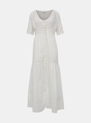 Biele maxišaty s madeirou a spodničkou VILA Elenore