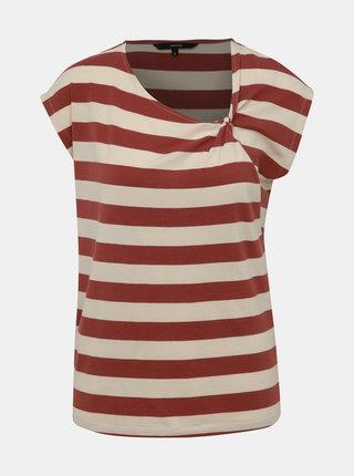 Krémovo-hnědé pruhované tričko VERO MODA Ashlee