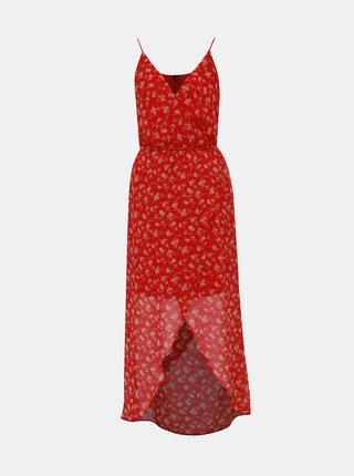 Červené kvetované maxišaty na ramienka VERO MODA Wonda