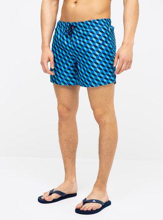 Modré pánské vzorované plavky Happy Socks Filled Optic