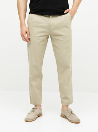 Pantaloni bej din in ONLY & SONS Leo