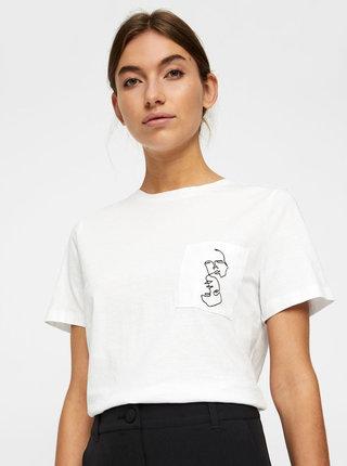 Bílé tričko s kapsou Noisy May