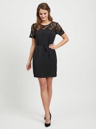 Čierne šaty s čipkovanými detailmi VILA Melli
