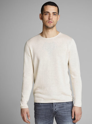 Krémový lněný basic svetr Jack & Jones Linen