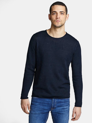 Tmavě modrý lněný basic svetr Jack & Jones Linen
