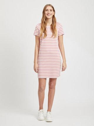 Růžové pruhované šaty VILA Tinny