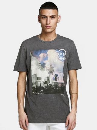 Sivé tričko s potlačou Jack & Jones Stuunt