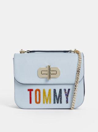 Světle modrá kožená crossbody kabelka s křišťály Swarowski Tommy Hilfiger Turnlock