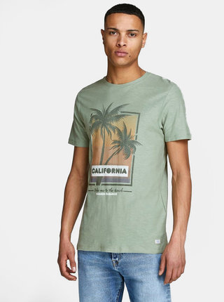 Tricou verde deschis slim fit Jack & Jones Newpleo