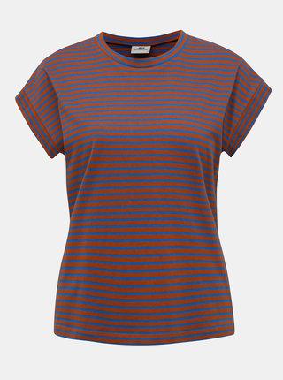 Modro-hnědé pruhované basic tričko Jacqueline de Yong Ditte