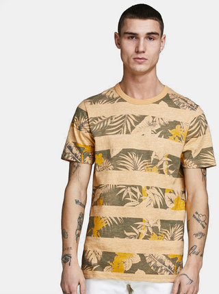 Tricou verde-galben cu model Jack & Jones Rise