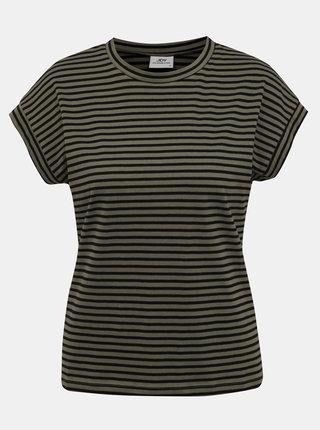 Kaki pruhované basic tričko Jacqueline de Yong Ditte