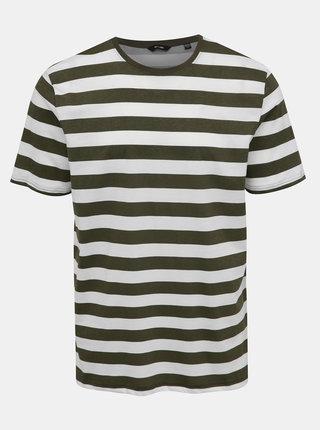 Bielo-zelené pruhované tričko ONLY & SONS Cole