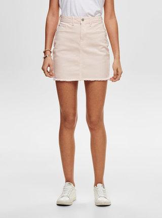 Světle růžová džínová minisukně s roztřepeným lemem Jacqueline de Yong Anica