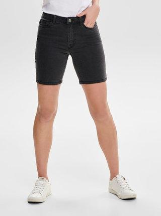 Pantaloni scurti gri inchis skinny din denim ONLY Corin