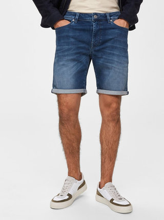 Pantaloni scurti albastri straight fit din denim Selected Homme Lucas