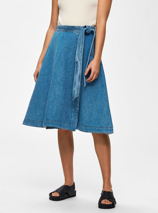 Modrá rifľová zavinovacia sukňa Selected Femme Jenner