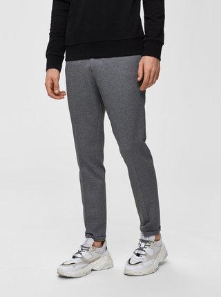 Šedé žíhané zkrácené skinny fit kalhoty Selected Homme Jersey