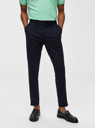 Tmavomodré skrátené skinny fit nohavice Selected Homme Jersey