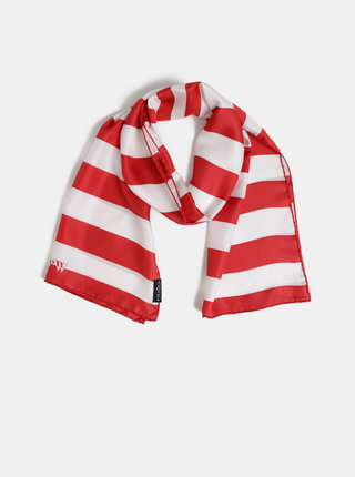 Bielo-červená dámska pruhovaná hodvábna šatka Fraas