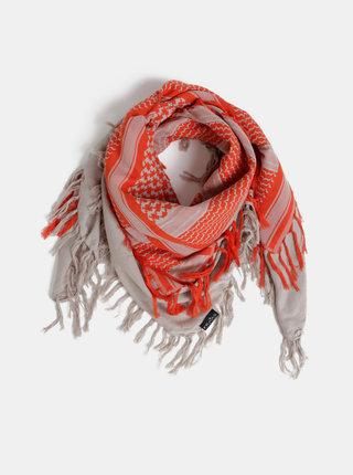Oranžovo-šedý dámský vzorovaný šátek Fraas