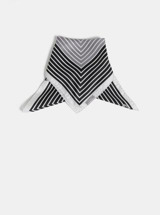 Bílo-černý dámský pruhovaný hedvábný šátek Fraas
