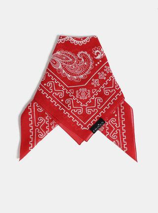 Červený dámský vzorovaný šátek Fraas