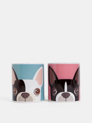 Sada dvoch hrnčekov v rúžovej a modrej farbe s motívom psov Butter Kings Hearts Which Frenchie