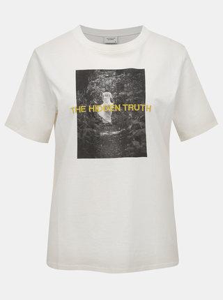 Biele tričko s potlačou Jacqueline de Yong Christy