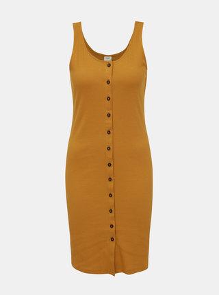 Horčicové rebrované šaty Jacqueline de Yong Nevada